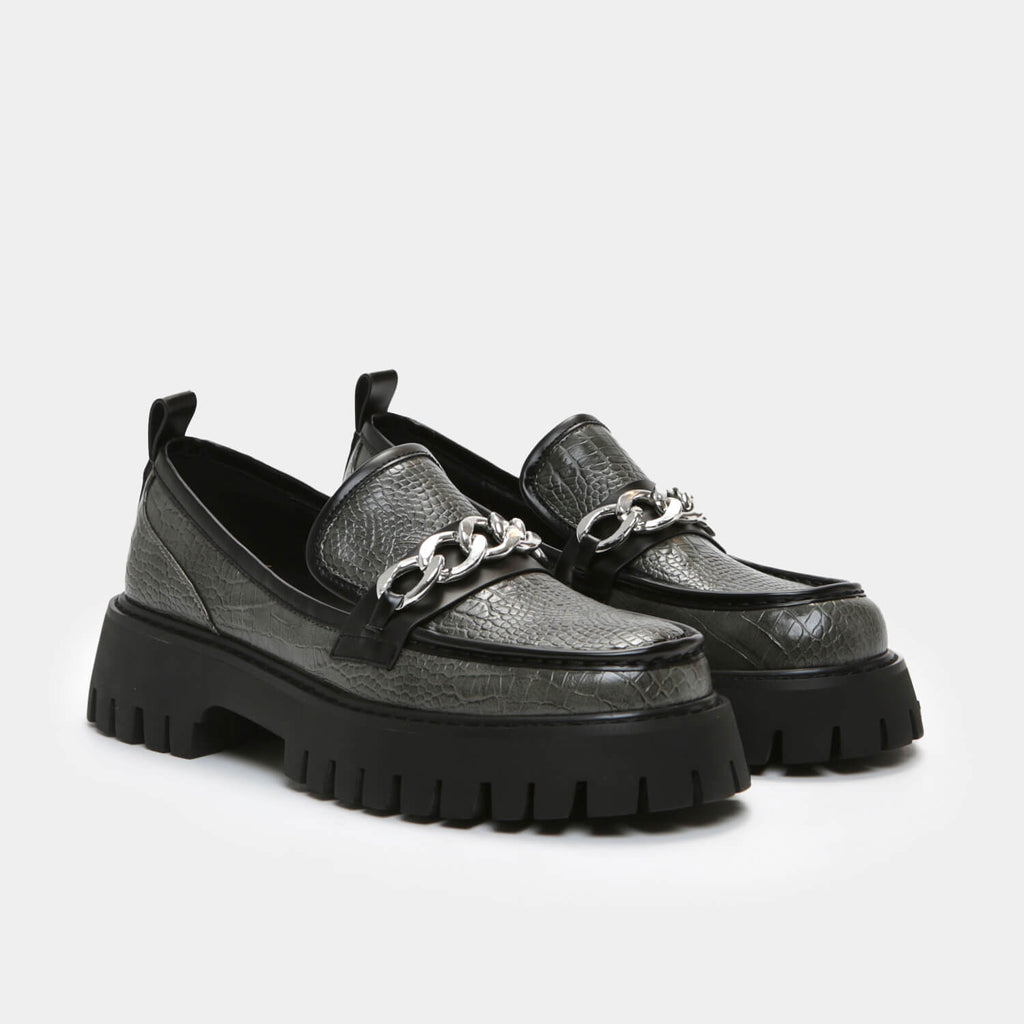 KOI Footwear Shenron Men's Grey Croc Loafers Vegan Loafers