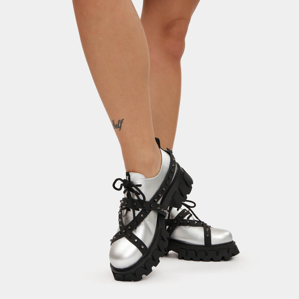 KOI Footwear The Sword Saint Studded Shoes Vegan Chunky Platform Shoes