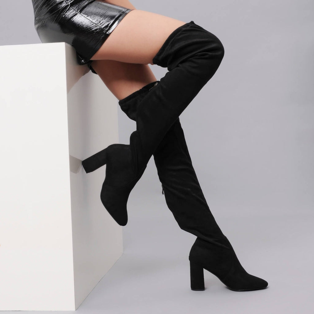 Over the Knee Stretch Boot in Black Suede