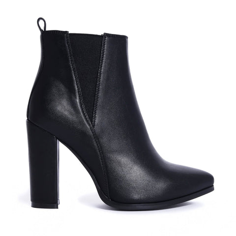 Black Pointed Toe Block Heel Elastic Panel Ankle Boots