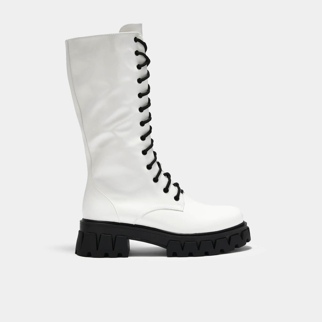 KOI Footwear Trinity White Knee High Boots Vegan Knee High Boots view 2