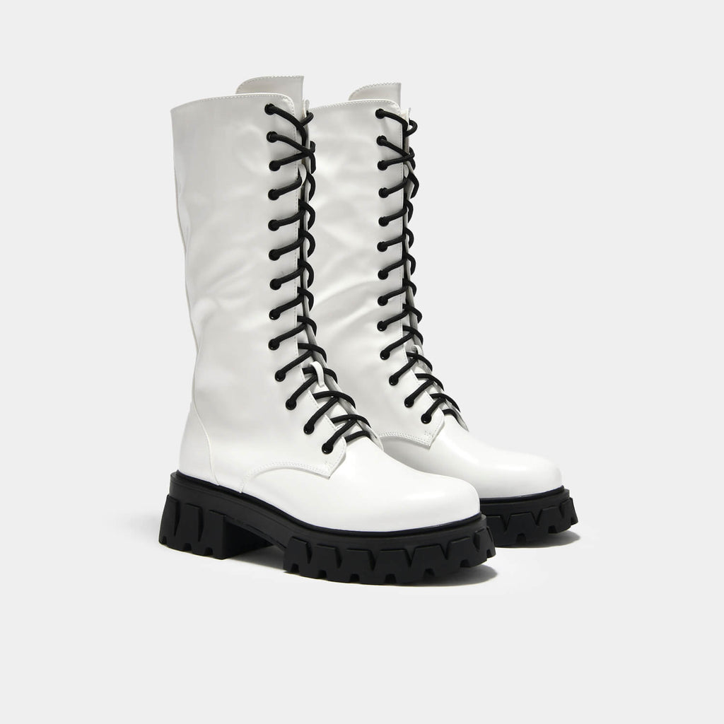 KOI Footwear Trinity White Knee High Boots Vegan Knee High Boots view 4
