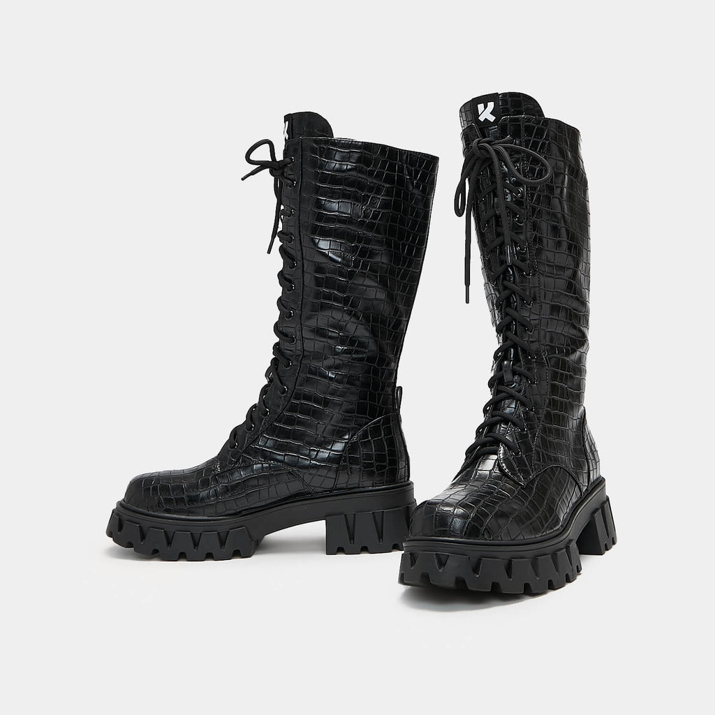 Dreamhorserecords Footwear Trinity Black Croc Knee High Boots Vegan Knee High Boots view 2