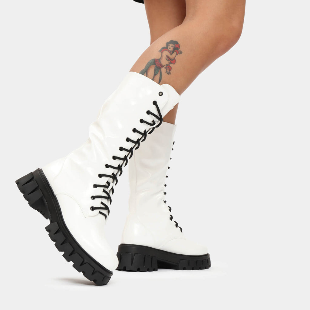 KOI Footwear Trinity White Knee High Boots Vegan Knee High Boots