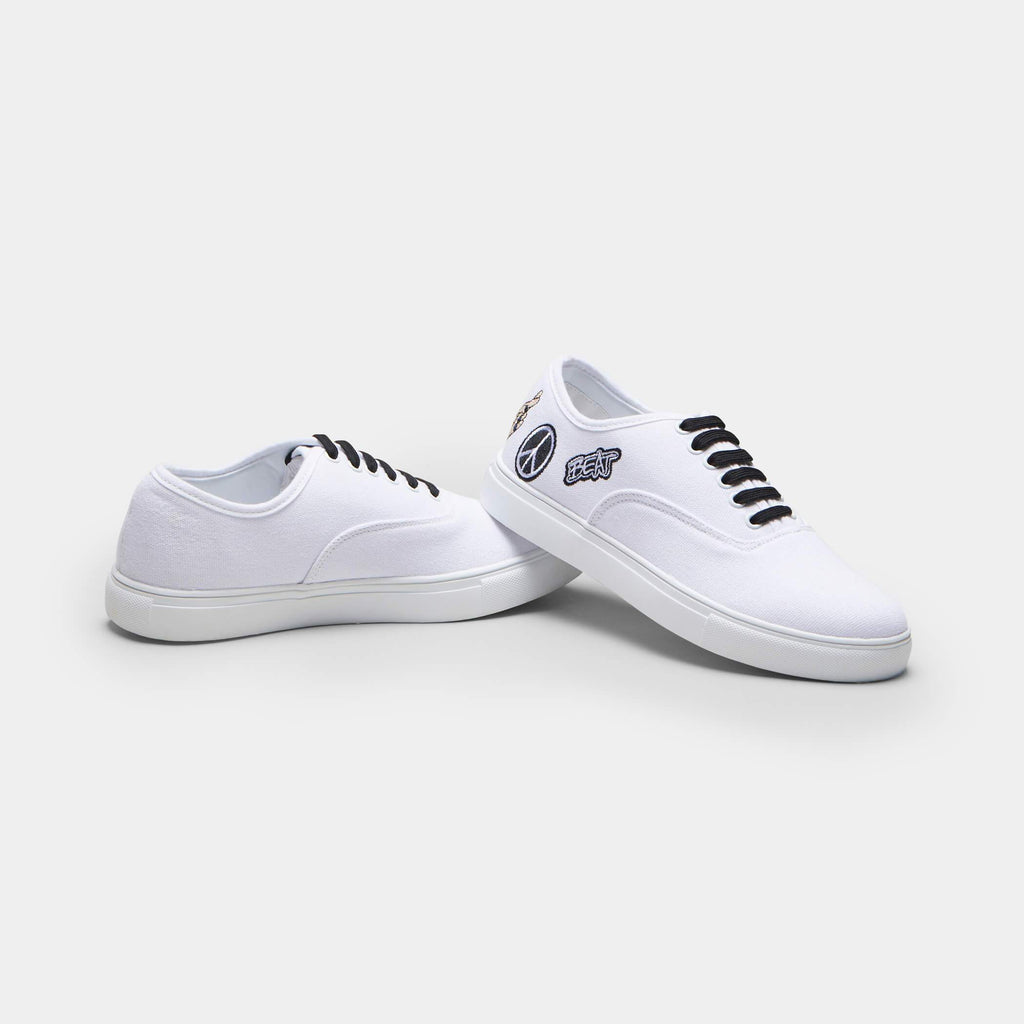 White VISH Peace Canvas Trainers 4 view 4