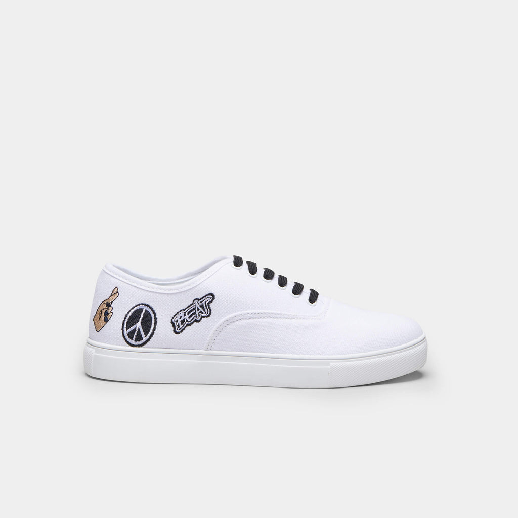 White VISH Peace Canvas Trainers 1