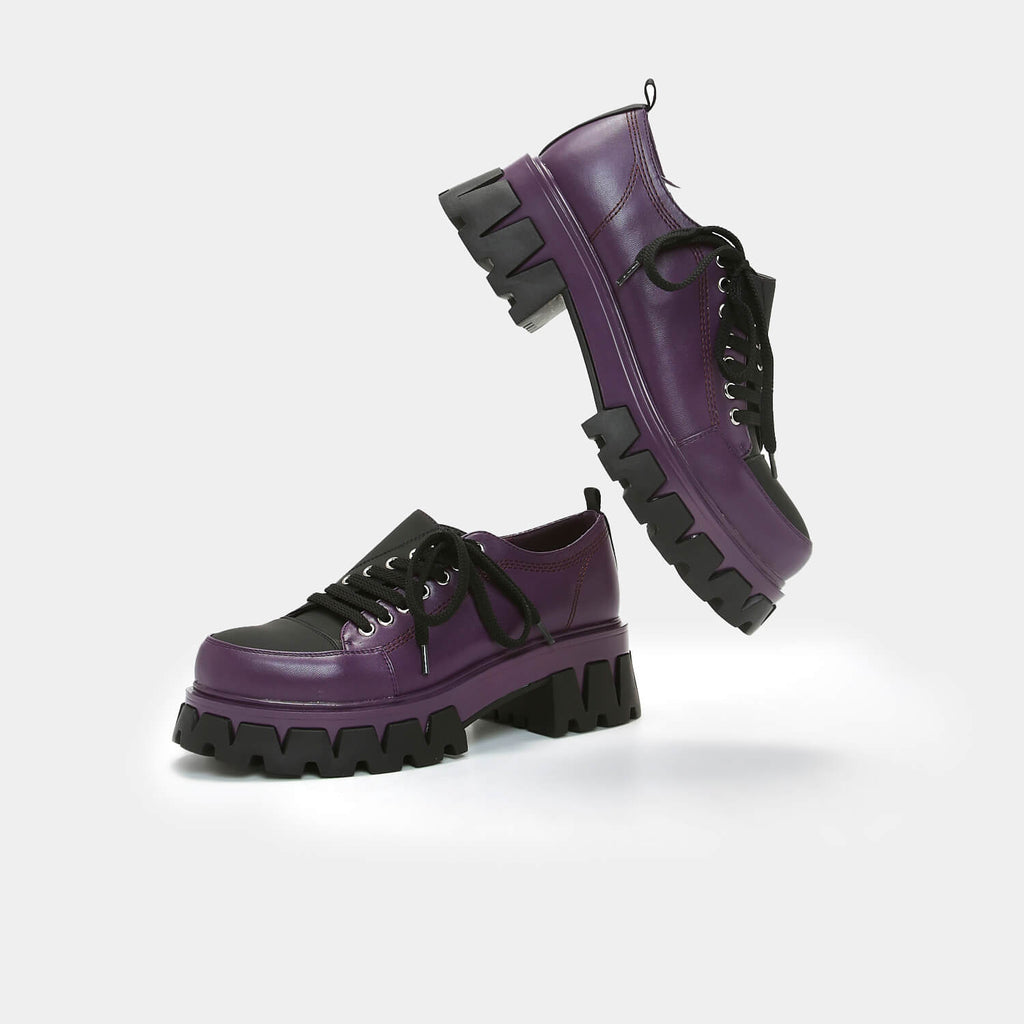 KOI Footwear The Twister Purple Shoes Vegan Chunky Platform Shoes