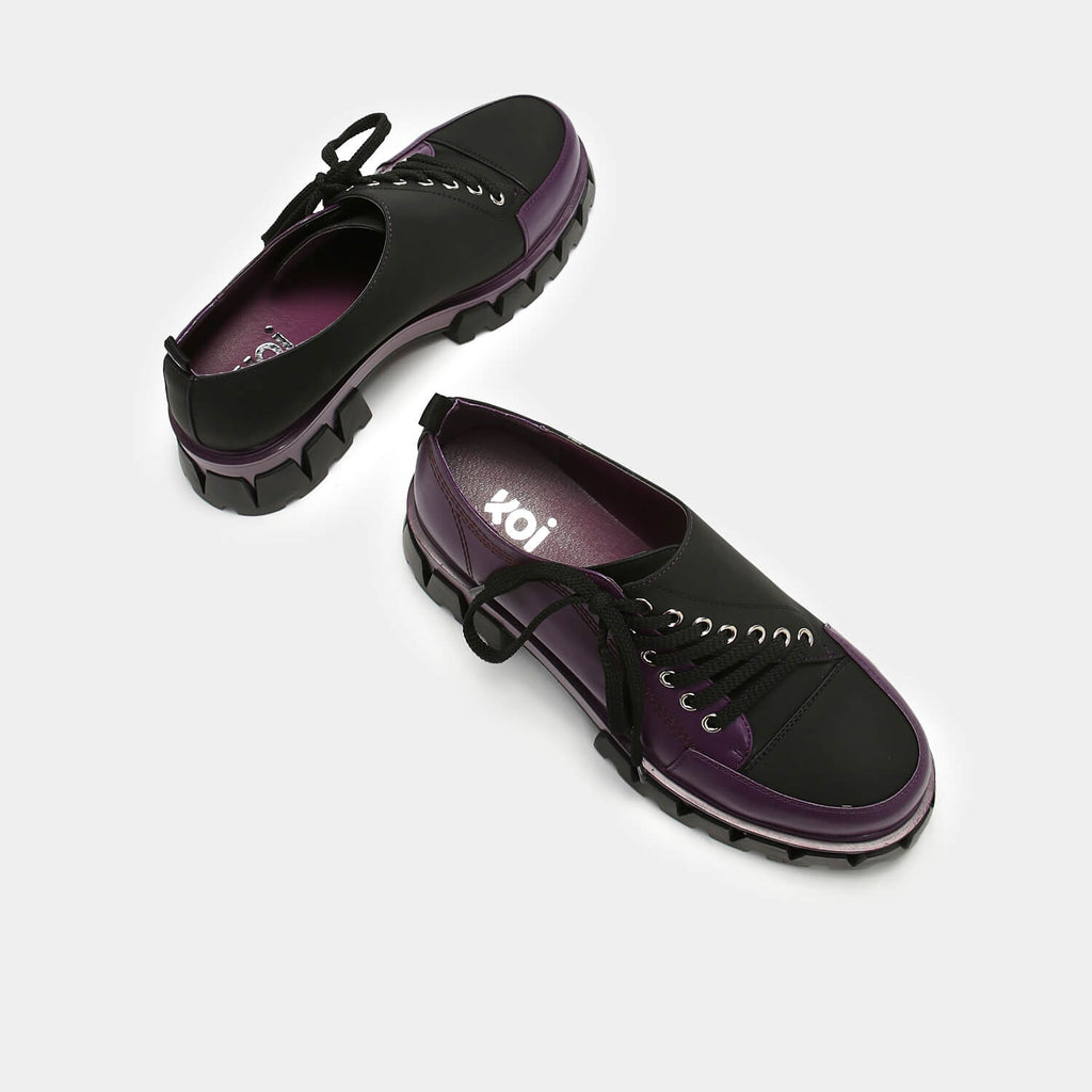 KOI Footwear The Twister Purple Shoes Vegan Chunky Platform Shoes view 4