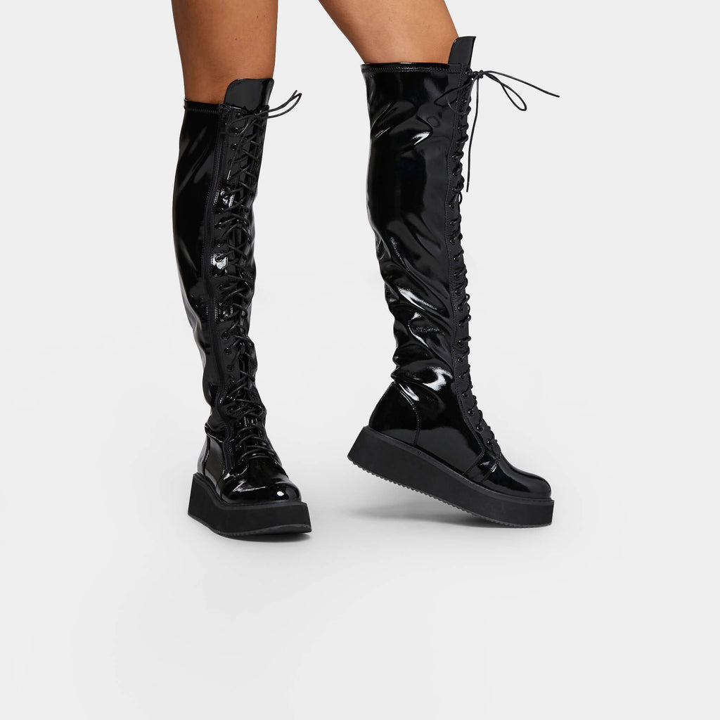 KOI Footwear Blade Lace Up Patent Boots Vegan Knee High Boots
