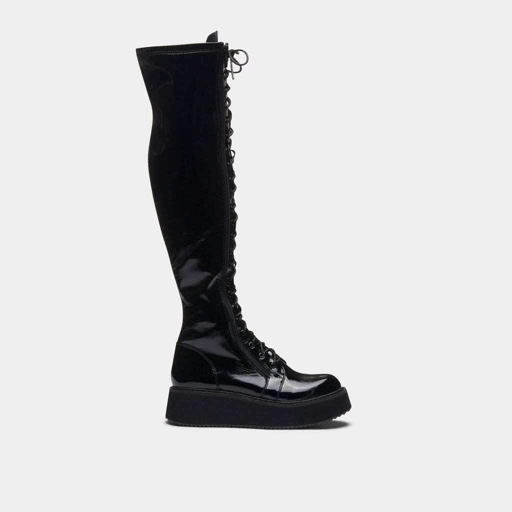 KOI Footwear Blade Lace Up Patent Boots Vegan Knee High Boots view 2