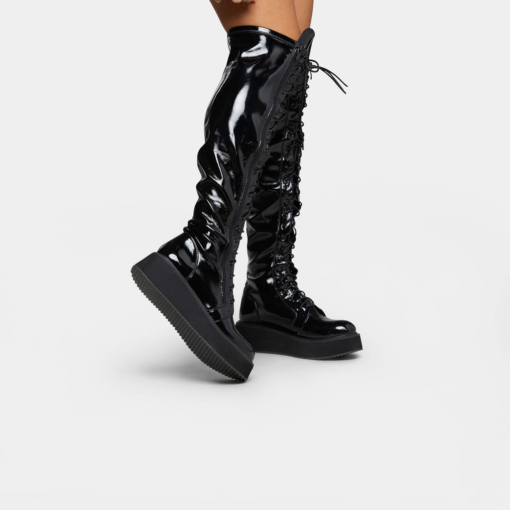 KOI Footwear Blade Lace Up Patent Boots Vegan Knee High Boots view 4