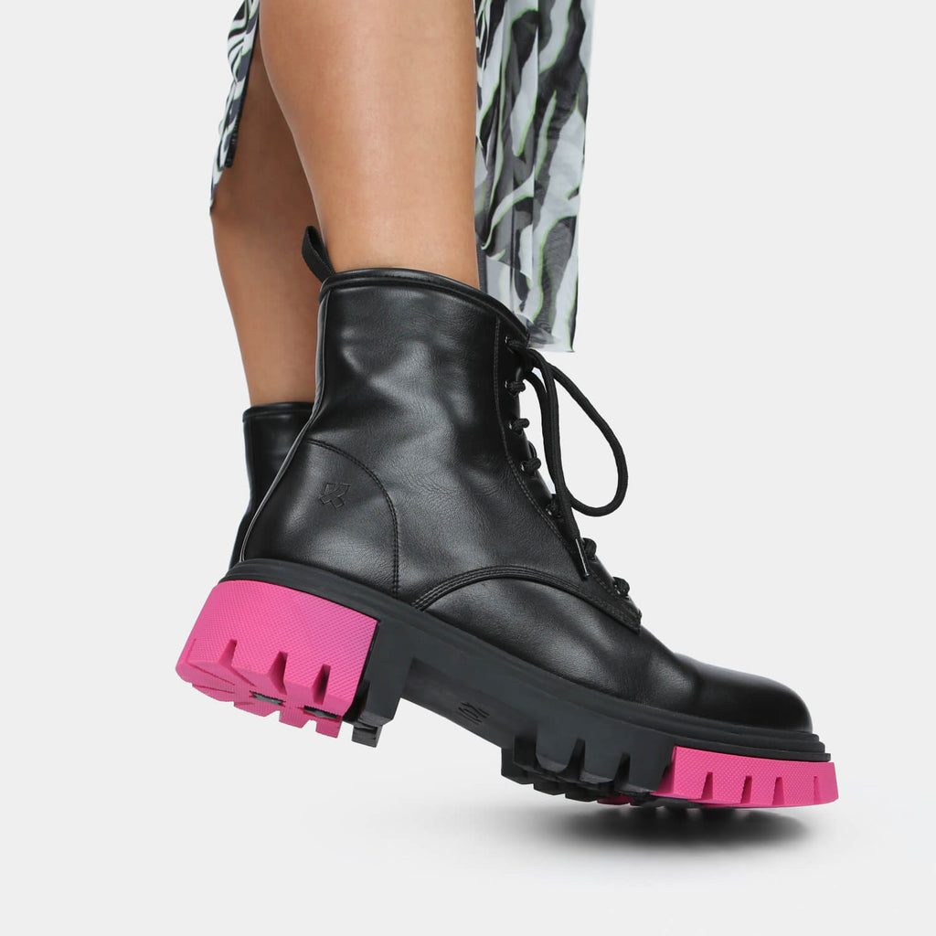 KOI Footwear Vendetta Split Sole Boots Vegan Military Ankle Boots