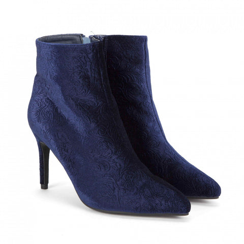 Tapestry Velvet Pointed Toe Ankle Boot in Blue