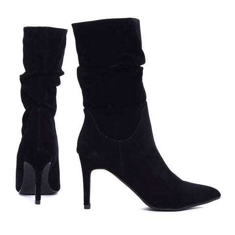 Black Stiletto Heel Calf Length Slouch Suede Boots