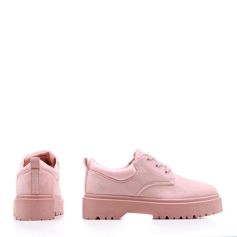 Chunky Platform Light Pink Suede Lace up Shoes