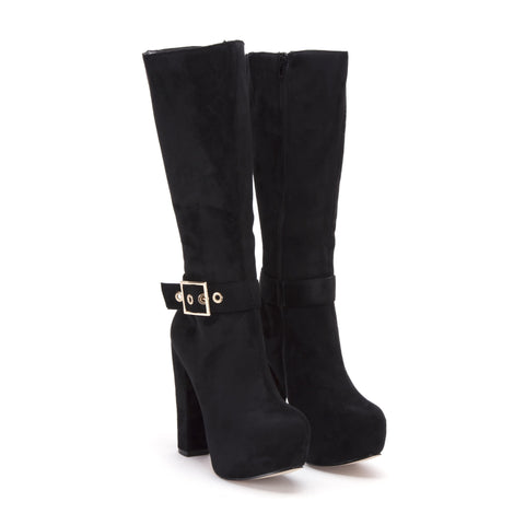 Buckle Feature Concealed Platform Boot in Black Suede