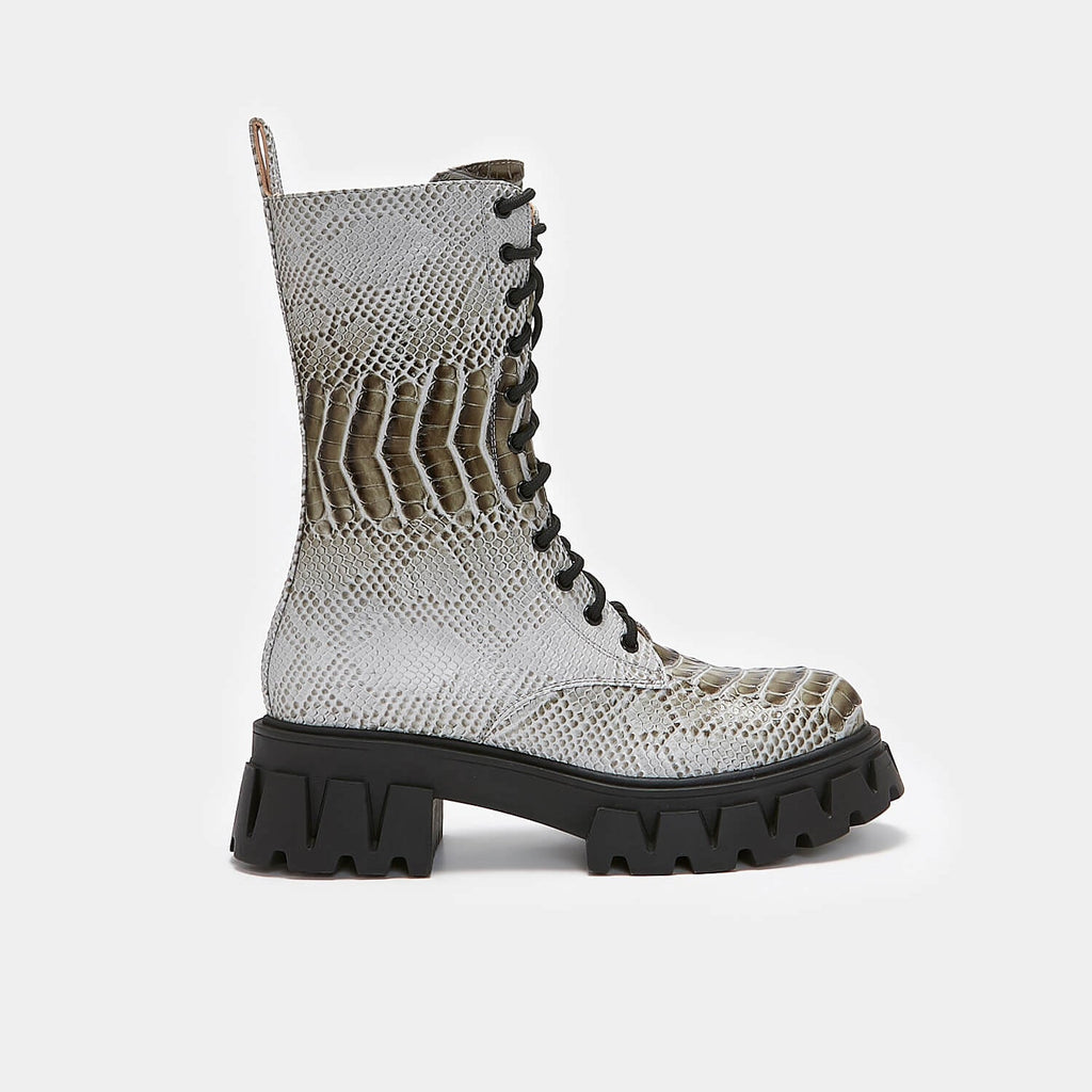 ZODY Footwear Yenn Grey Snake Military Boots Vegan Military Ankle Boots