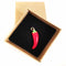 Red Chili Pepper Enamel Pin shown in Kraft Gift Box