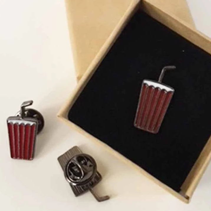 Cola with Straw Enamel Lapel Pin with Kraft Gift Box