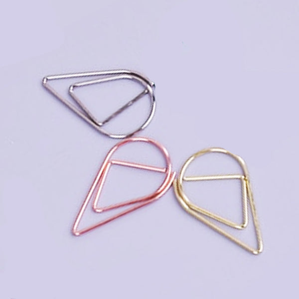 Dew Drop Paperclips shown in silver, gold and rose gold