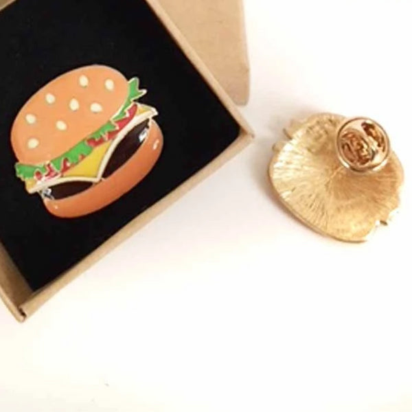 Hamburger Enamel Lapel Pin shown in box