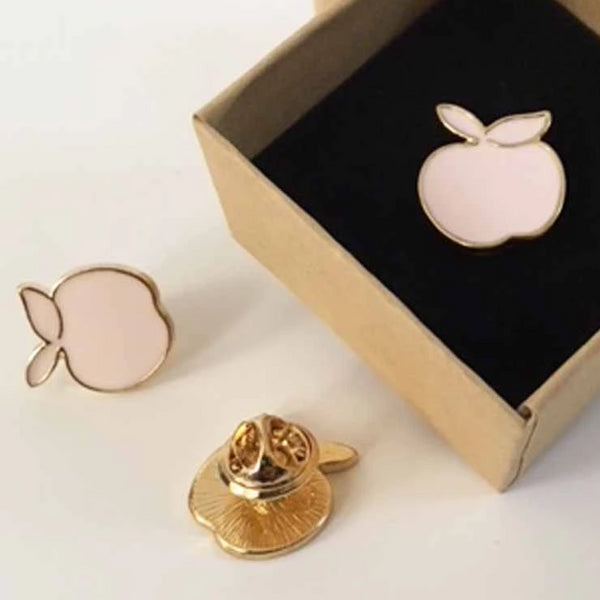 Peach Enamel Lapel Pin with Kraft Gift Box