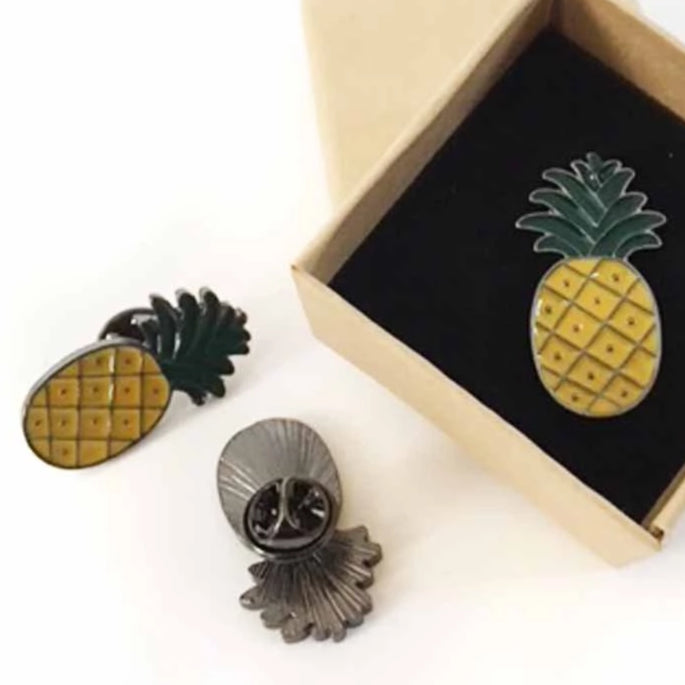 Pineapple Enamel Fashion Pin Shown in box