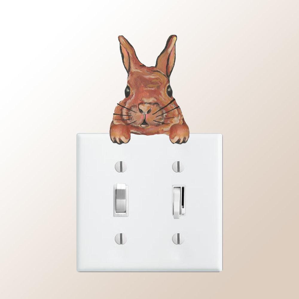 Cocoa Rabbit Lightswitch plate Topper Decal shown on Double Lightswitch Plate
