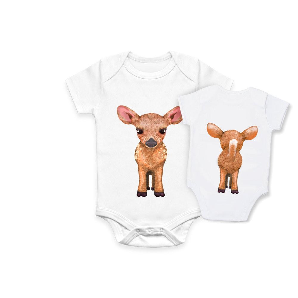 fawn double sided organic baby onesie