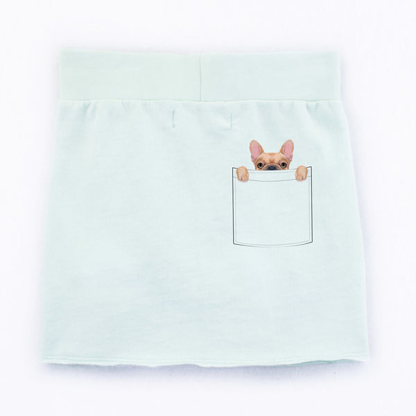French Bulldog Pocket Peeper Organic Cotton Toddler Skirt