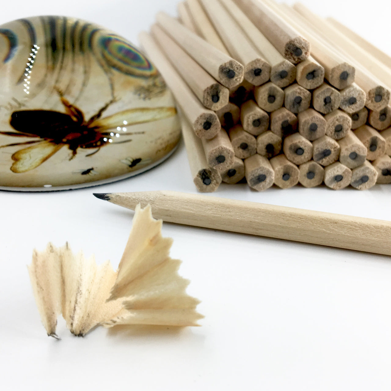 Raw Graphite Pencils Shown with Honey Bee Paperweight