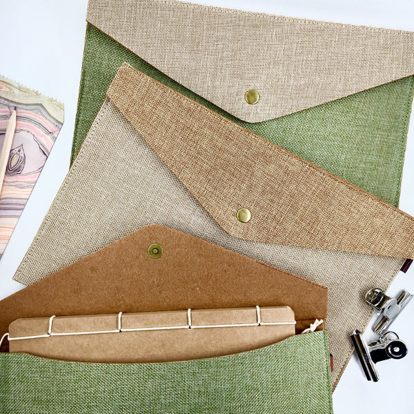 Burlap Two-Tone Folders shown in green and tan - KonMari Paper Organizing