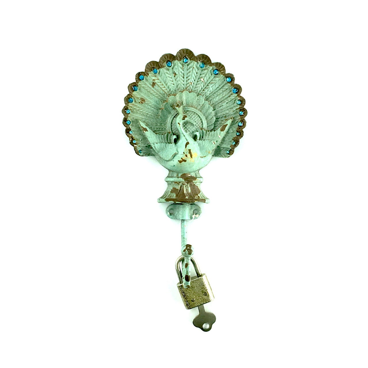 Antiqued Peacock Wall Hook shown holding Padlock
