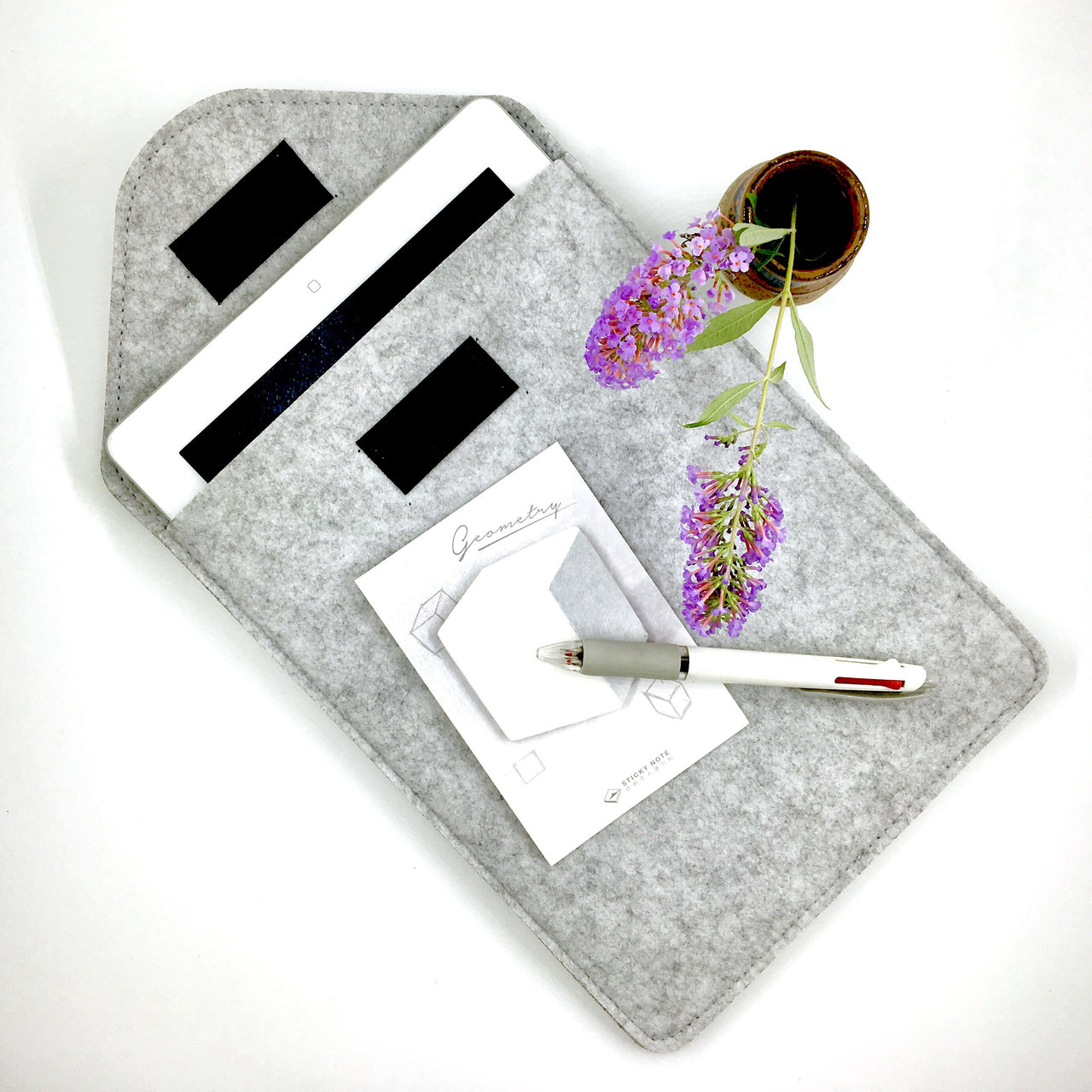 Felted Tablet Sleeve shown with IPad