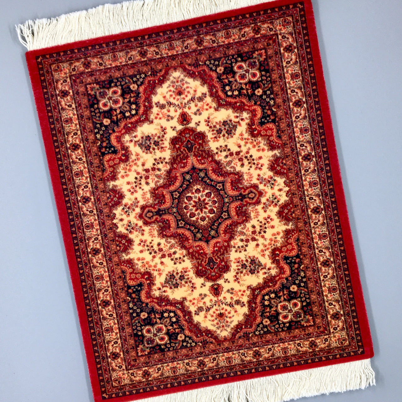 velvet persian rug mouse pad with fringe in red