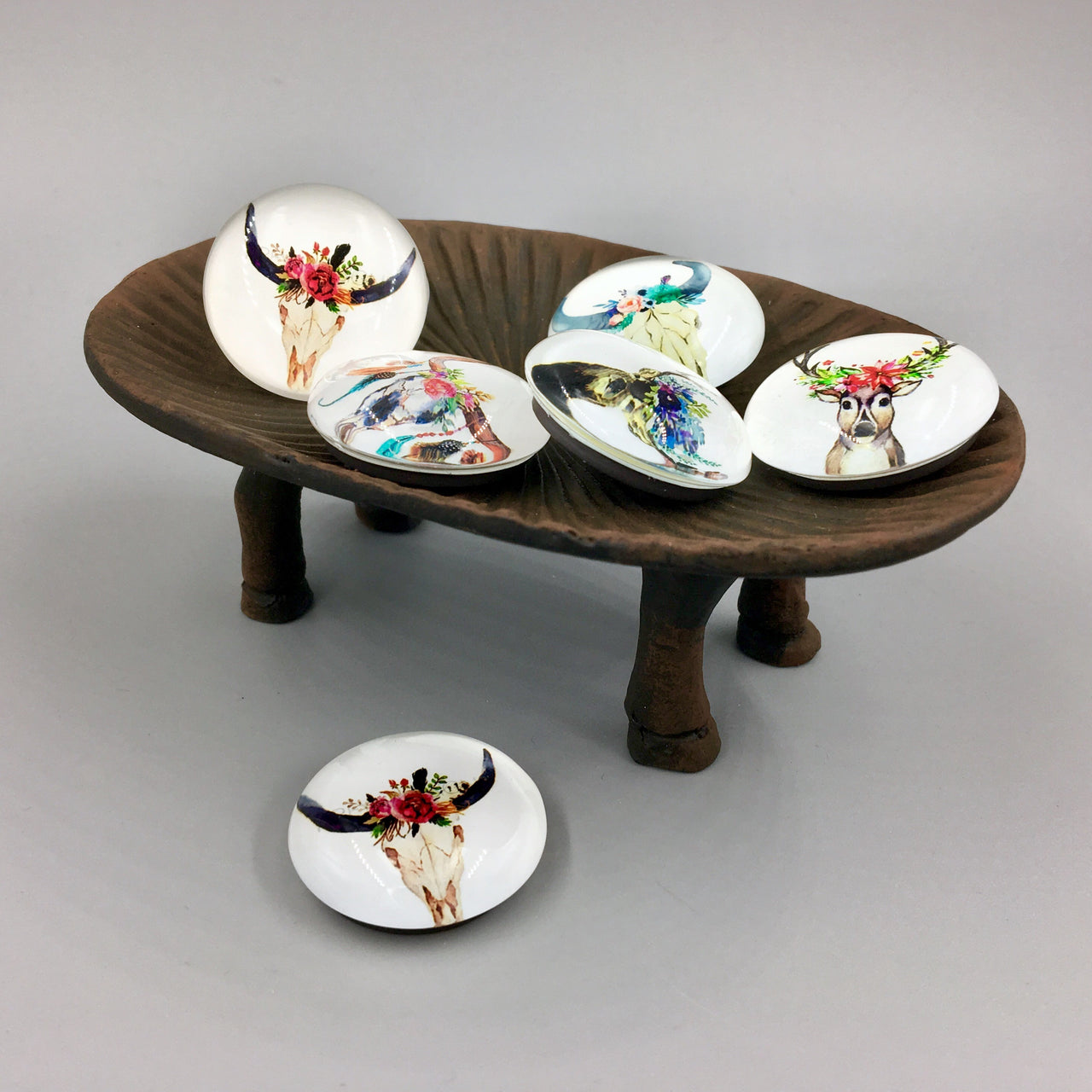 Heifer Trinket Dish shown with magnets