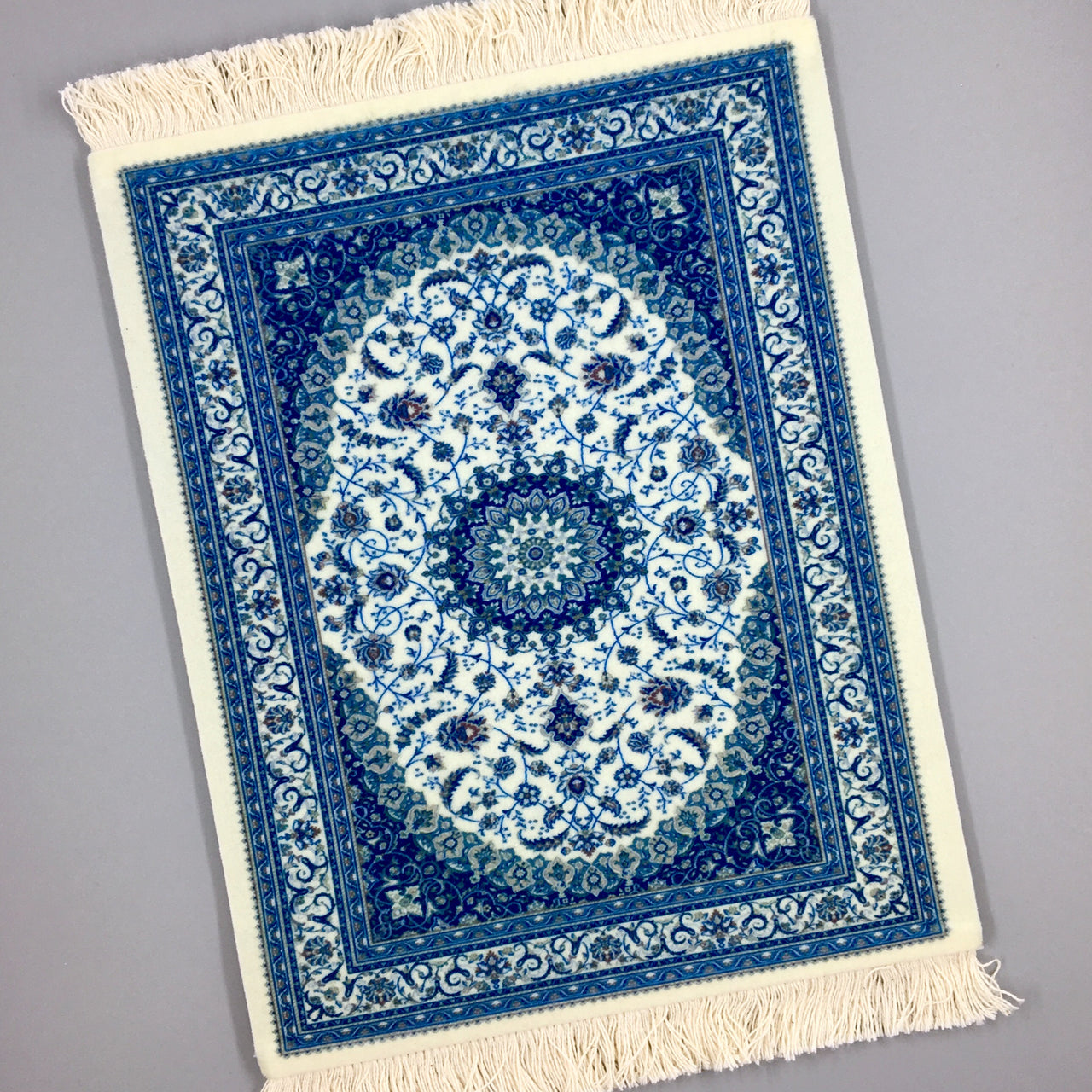 velvet persian rug mouse pad with fringe in blue