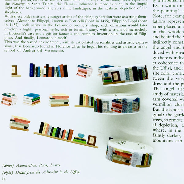 Infinite Bookshelf Washi Tape shown on book