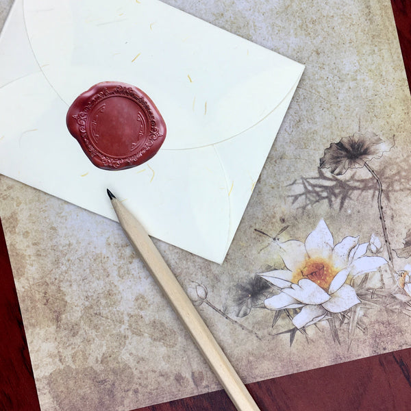 Lotus Tea Stained Letter Paper