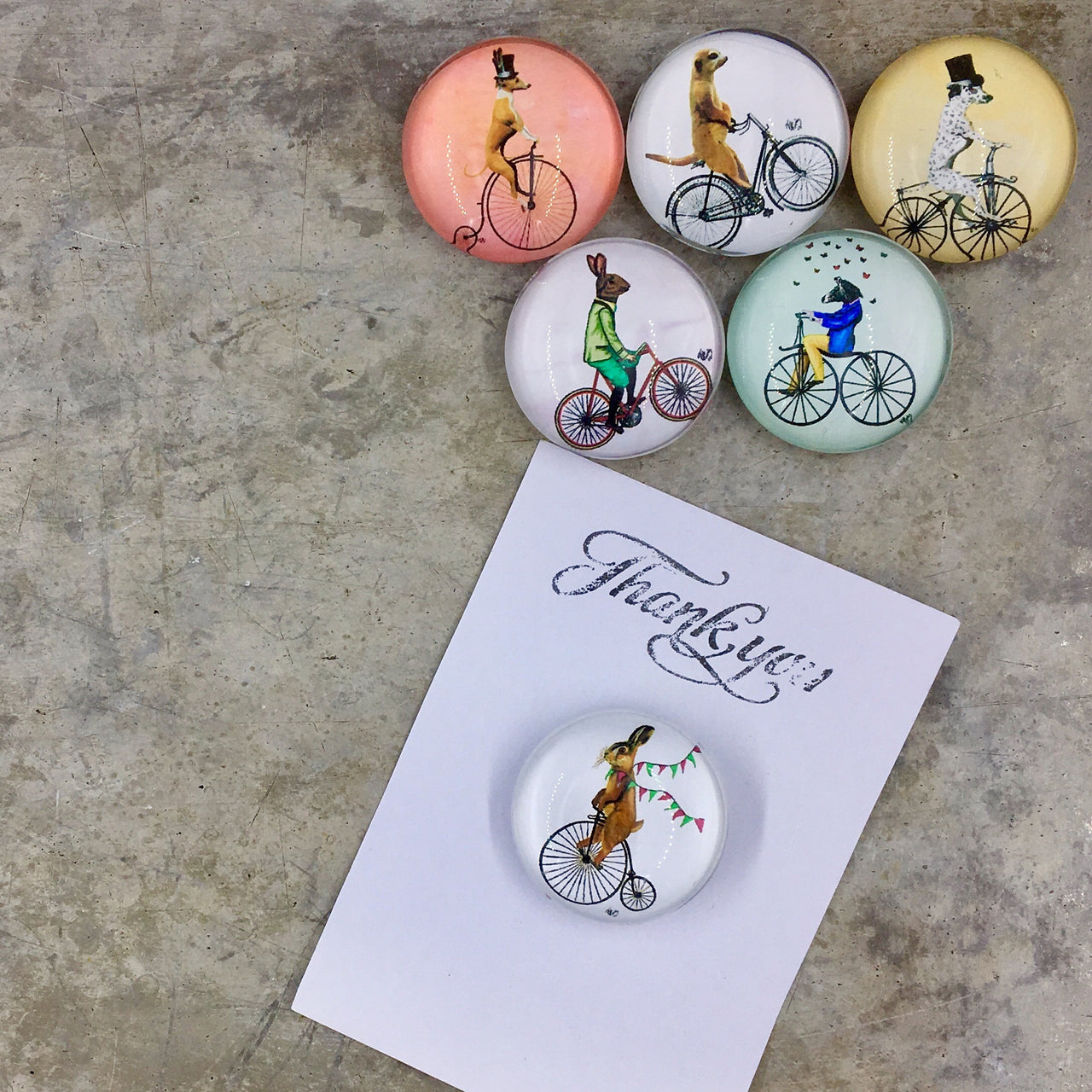 Animal Cyclist Magnets shown with Thank You note