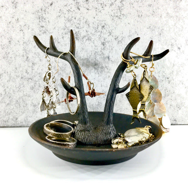 Antler Trinket Dish and Ring Tray in Black shown as Jewelry Display