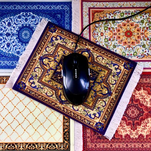 Velvet Persian Rug Mouse Pads shown in 5 colors with mouse