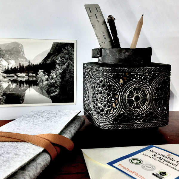 Shinto Lantern Canister shown as desktop organizer