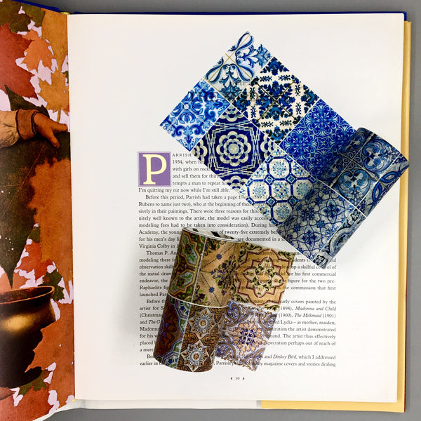 Moroccan Tile Washi Tape shown in Indigo and Terra Cotta