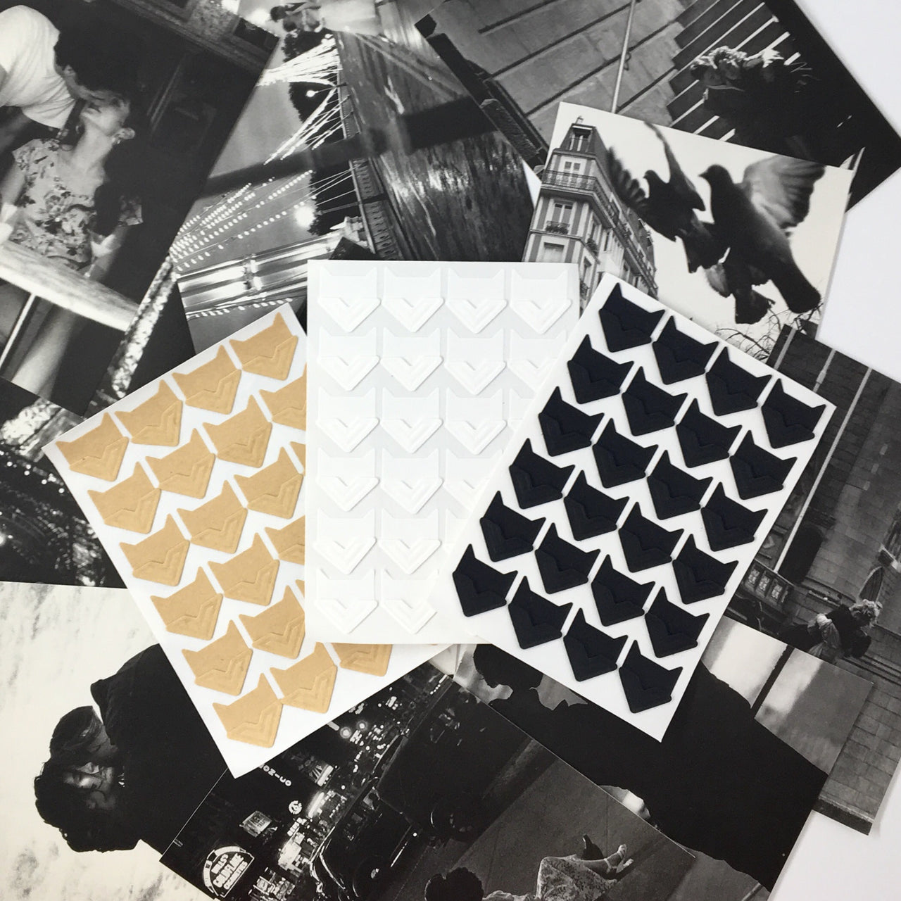 Beveled Photo Corners shown in White Kraft and Black