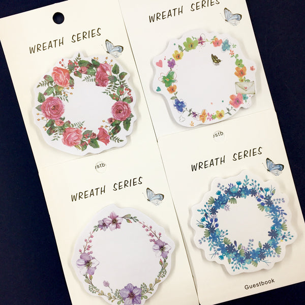 Set of Floral Wreath Sticky Notes Shown in Four Different Styles