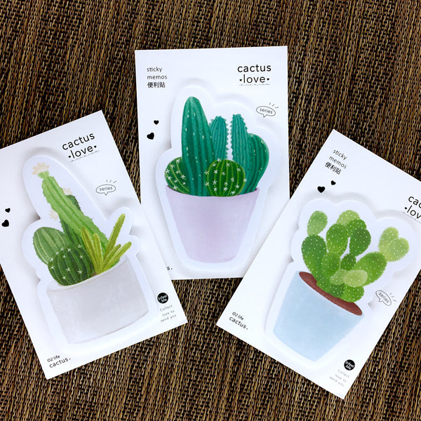 Cactus Love Sticky Notes shown in all three colors