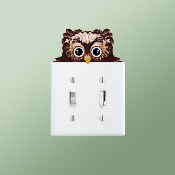 Owlet lightswitch topper decal shown on double lightswitch plate