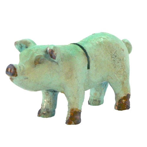 antiqued iron pig desktop note and card holder