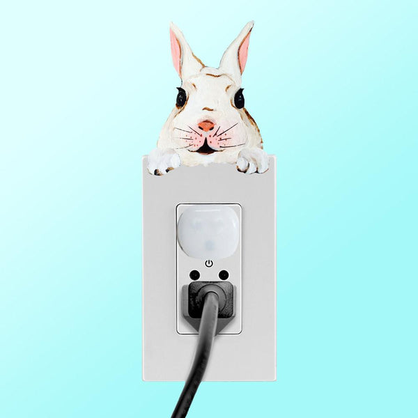 white rabbit lightswitch topper decal shown on outlet